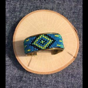 2Chic Jewelry - 🎈CUTE🎈Yellow, Black & Blue Indian Bead Cuff