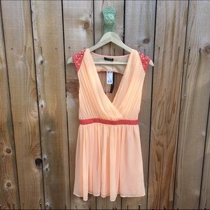 Coral & Leather Studded Open Back Dress