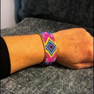 2Chic Jewelry - ☄️TRENDY☄️Pink, Blue & Yellow Indian Bead Cuff