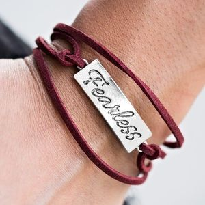 Jewelry -  Red Fearless stamped bracelet!