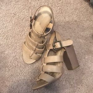 Anne Marie Shoes - Tan strappy block heeled heels