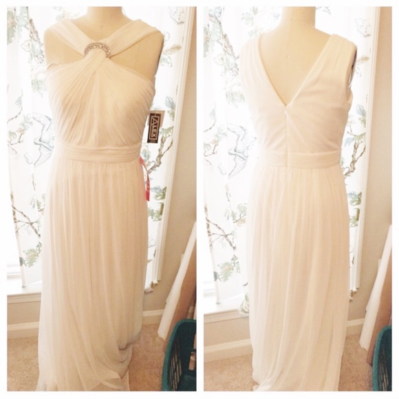Alex Evenings Gathered Front Crystal Brooch Gown