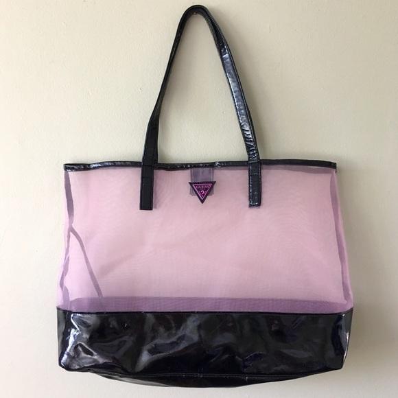 3a72d28db26f Guess Handbags - Guess Large Tote Beach Bag Sheer Black Pink Purple