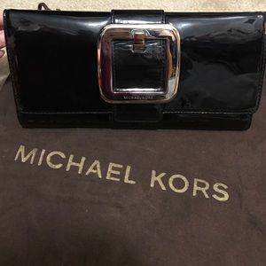 Michael Kors Black Patent Leather Clutch