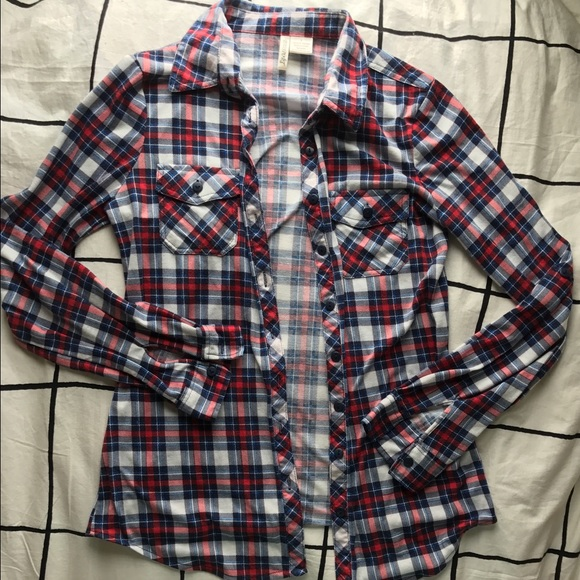 53 Off Passport Tops Red White And Blue Flannel From
