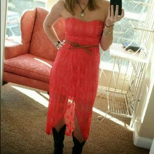 Rue21 Dresses & Skirts - Strapless Coral lace hi-lo dress