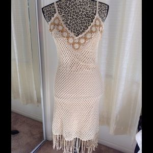 Arden B Dresses & Skirts - Crochet Beaded Fringe Dress