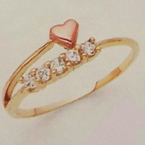 Jewelry - 14k Solid Real yellow and Rose gold Heart Ring