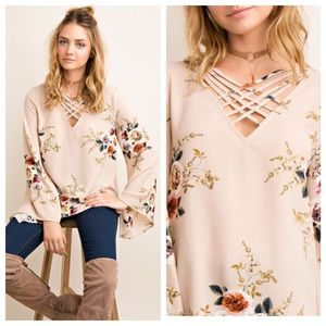 JUST IN👑 Floral Boho Blouse with Strappy Neck