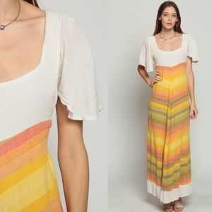 70's vintage sunset cotton gauzy maxi dress