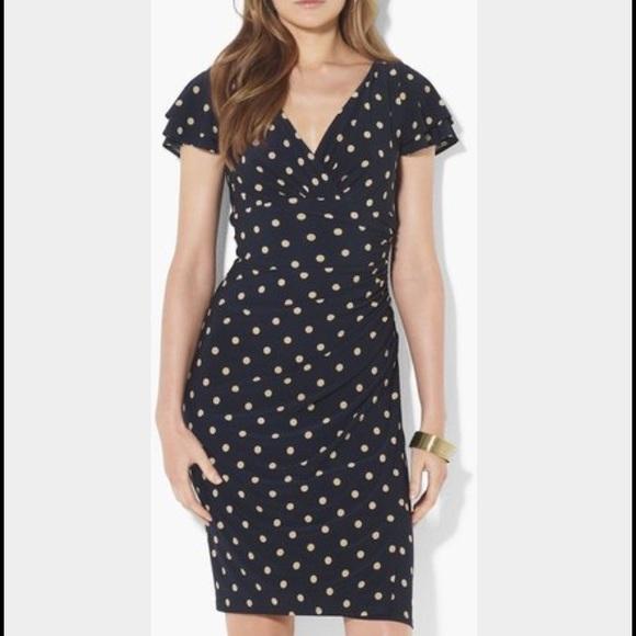 4052c43e26d31 Lauren Ralph Lauren Dresses & Skirts - Ralph Lauren Navy Polka Dot Dress