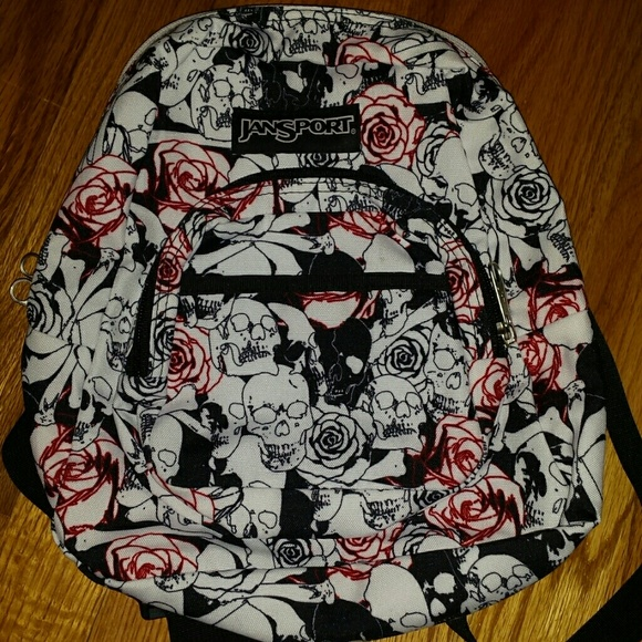 Jansport Handbags - Jansport mini backpack purse skulls and roses ce78125b94bd3
