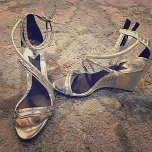 B Brian Atwood Sedini silver wedge sandals