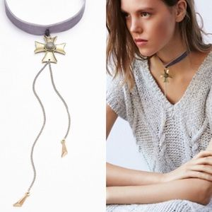 Free People Jewelry - NWT free people flyaway fringe choker velvet