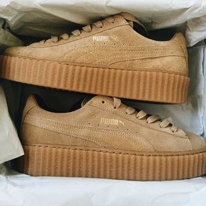 Puma Shoes - FENTY PUMA x RIHANNA Suede Creepers in Oatmeal 6
