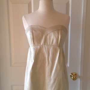 Shoshanna strapless Gold dress and matching Jacket