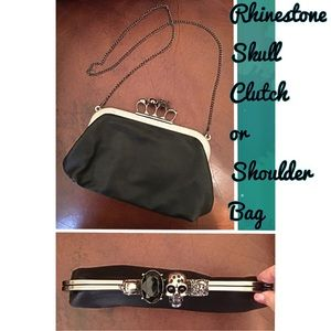 Black Skull Latch Handbag Clutch or Shoulder Bag