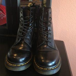 Doc Martens Black Patent Leather Combat Boots