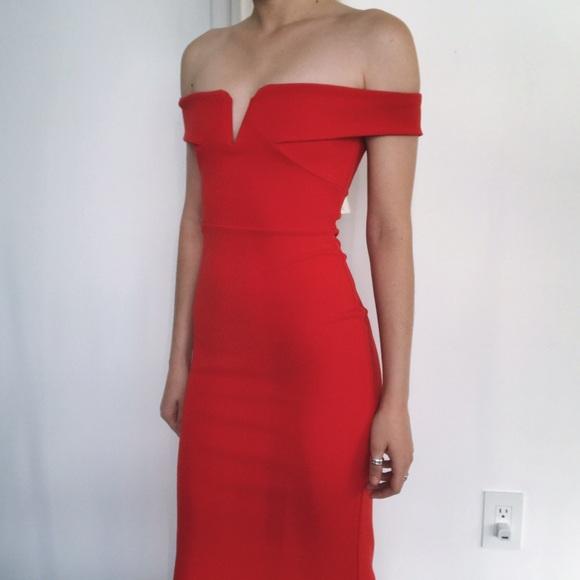 93b001aef9dc bardot crepe v plunge maxi dress off shoulder •