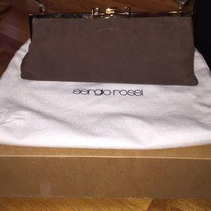 Sergio Rossi brown suede purse