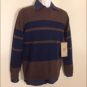 Publish Other - Publish brown with navy blue stripe sweater NWT