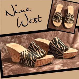Nine West Shoes - Nine West zebra cork wedge sandals heels