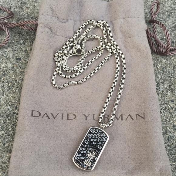 David yurman jewelry black diamond dog tag necklace poshmark david yurman black diamond dog tag necklace mozeypictures Images
