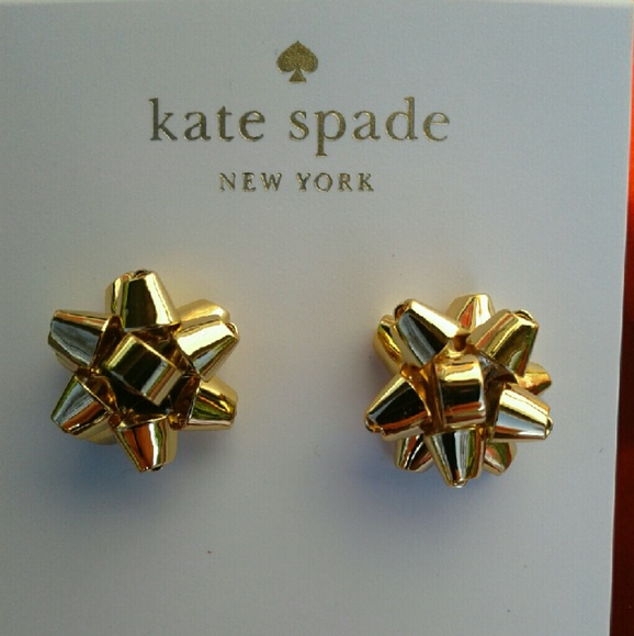7c6f8f06ea84a NEW Kate Spade Bourgeois Bow Earrings Studs - Gold NWT
