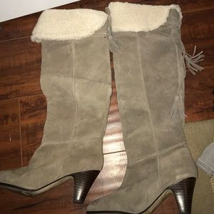 Beige suede optional knee boot with faux fur top.