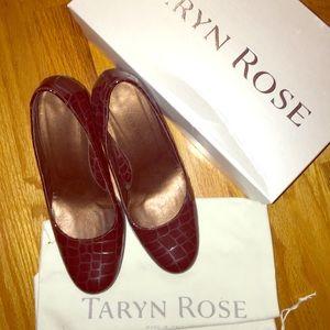 Taryn Rose alligator print maroon patent heels