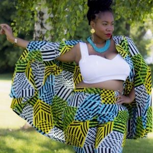 Zelie for She Sweaters - Tribal African Print Cape