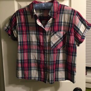 Topshop Plaid Cropped Button Down Size 4