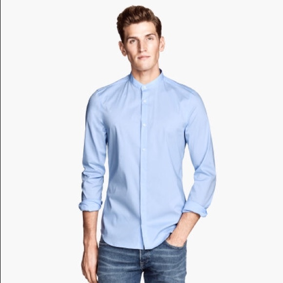 Collarless Button Up Shirt Mens Artee Shirt