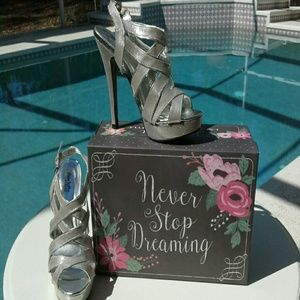 NWOT  Charlotte Russe Silver heels stiletto shoes