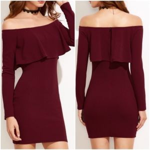 Off shoulder burgundy body con dress. Price firm.