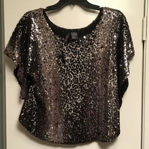Tops - Poncho with silver sequins & black velvet!!