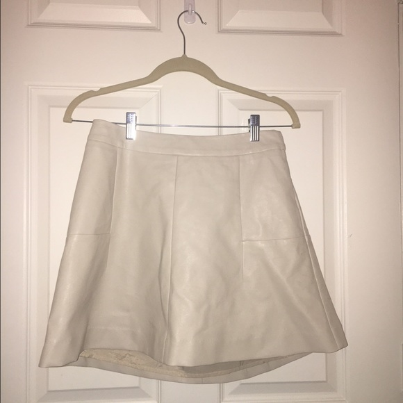 64% off Piperlime Dresses & Skirts - Cream Faux Leather Skirt from ...