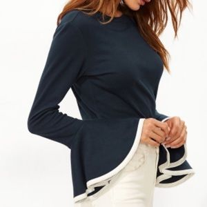 Navy/White Bell Sleeve Top. Price firm.