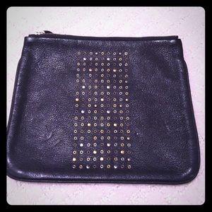 Chic black leather pouch w/metallic detail