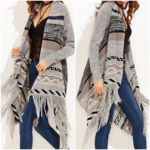 Grey Tribal Print Fringed Cardigan. Price firm.