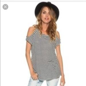 Swell Tops - SWELL cold shoulder stripe tee