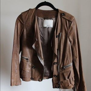 3.1 Phillip Lim Leather Jacket with Ruffle Trim