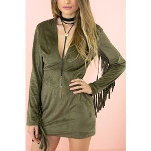 Dresses & Skirts - Olive green/gray suede dress with fringes