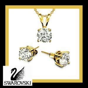 Swarovski Jewelry - 18k Gold Swarovski Crystal Pendant & Earrings Set