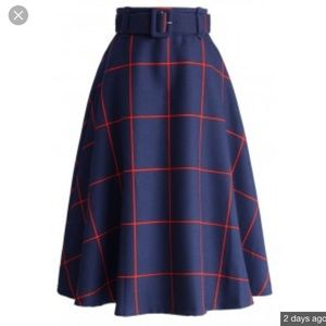 Chicwish Navy & Red Check Print Midi Skirt XS