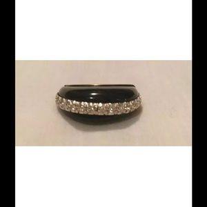 Jewelry - Black Onyx and Diamond Dome 18K Ring