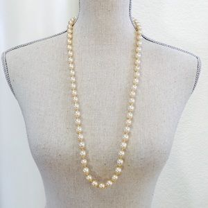 """Jewelry - Pearl 30"""" necklace strand gold beige tone 10mm"""