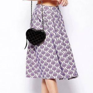 ASOS Purple & White Print Midi Skirt 0