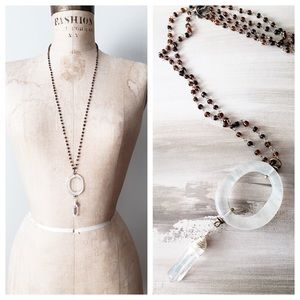 Cultiverre Jewelry - artisan quartz crystal boho necklace (last one)