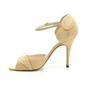 Laurence Dacade Shoes - LAURENCE DACADE Beige Leather Ankle Strap Heels